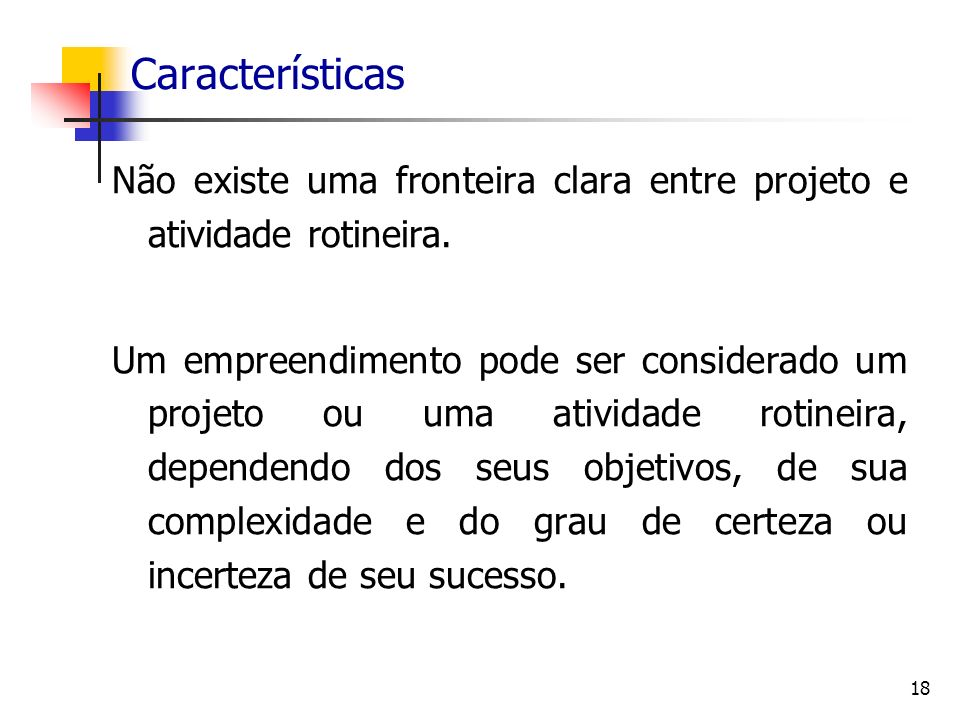 Características Não existe uma fronteira clara entre projeto e atividade rotineira.