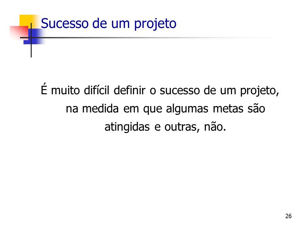 Sucesso de um projeto É muito difícil definir o sucesso de um projeto, na medida em que algumas metas são atingidas e outras, não.
