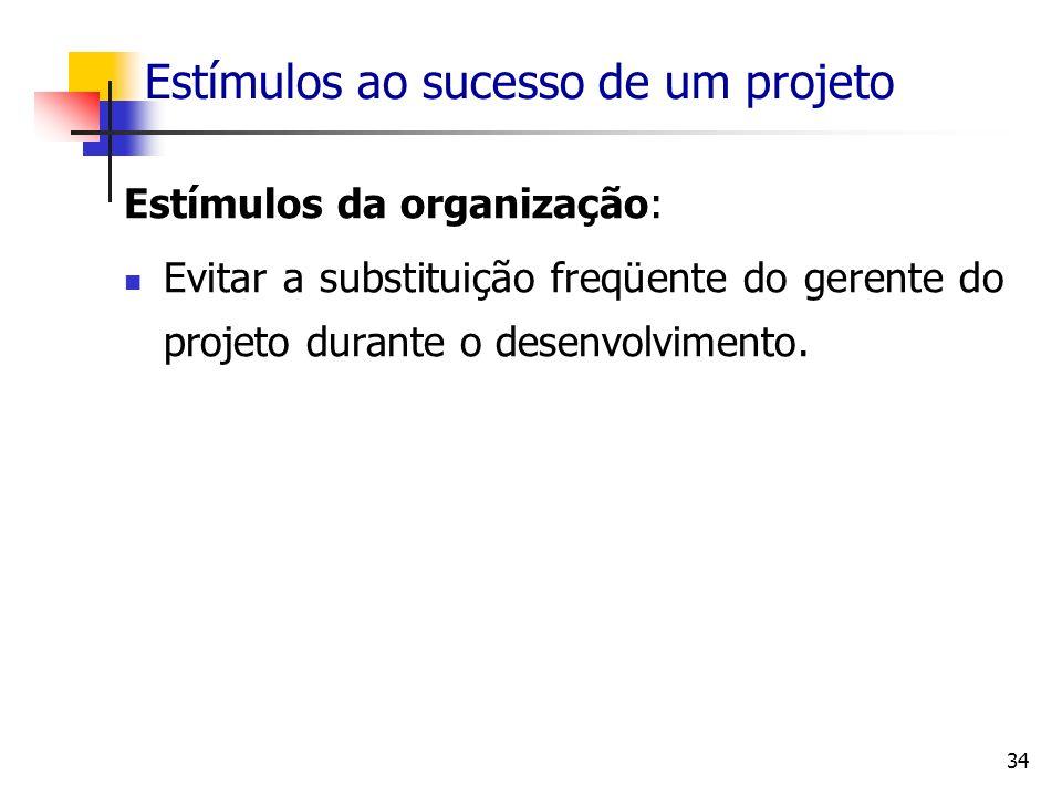 Estímulos ao sucesso de um projeto