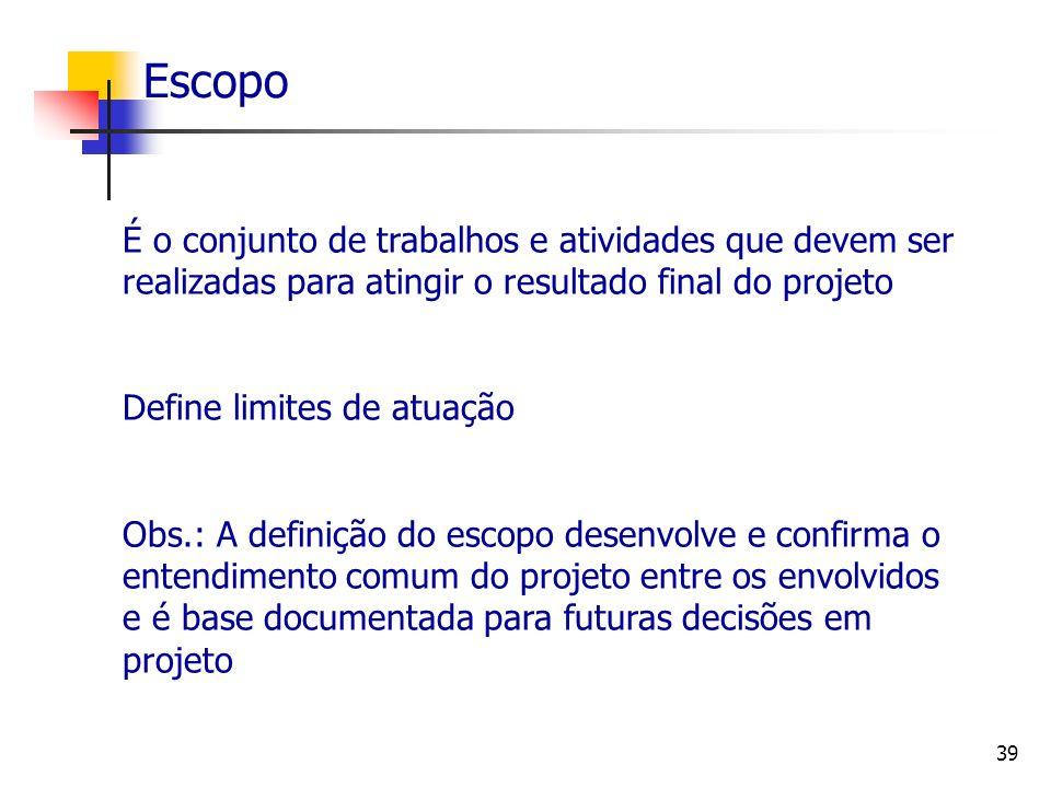 Escopo É o conjunto de trabalhos e atividades que devem ser realizadas para atingir o resultado final do projeto.