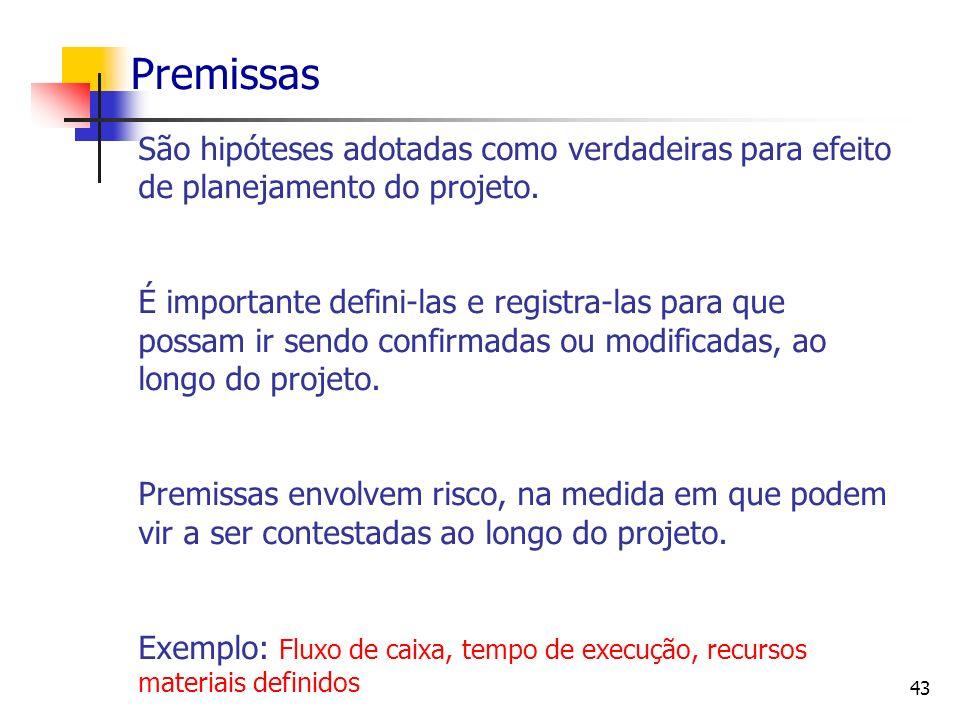 Premissas São hipóteses adotadas como verdadeiras para efeito de planejamento do projeto.