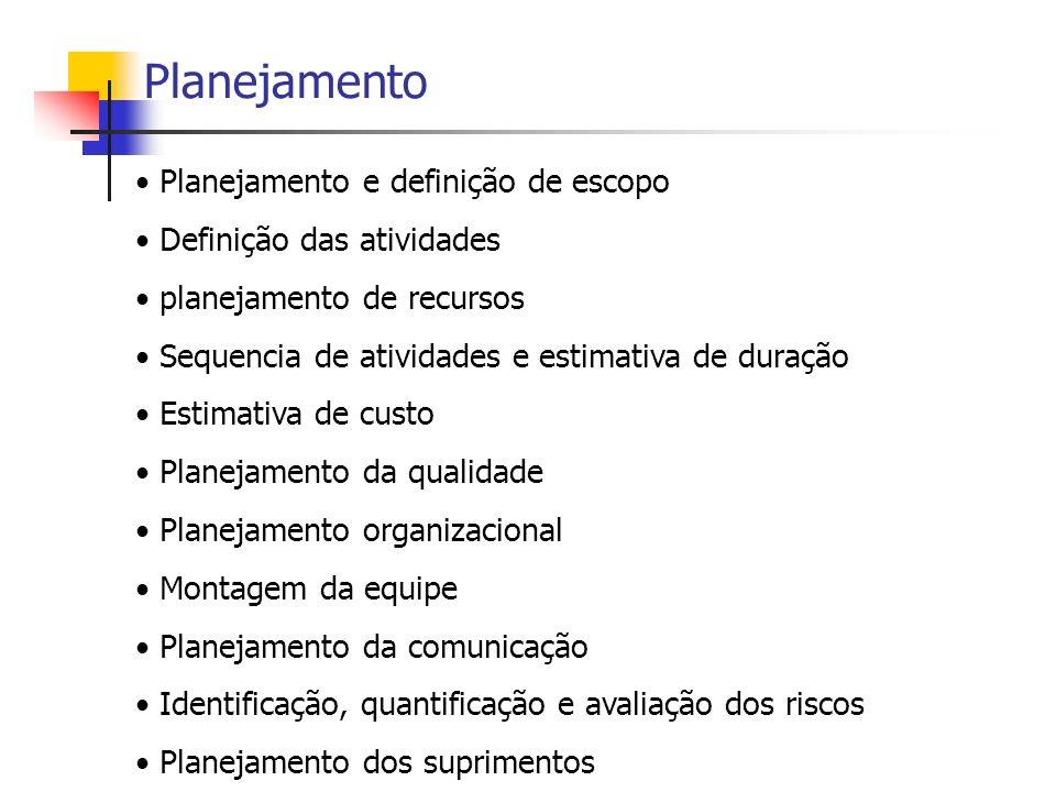Planejamento Planejamento e definição de escopo