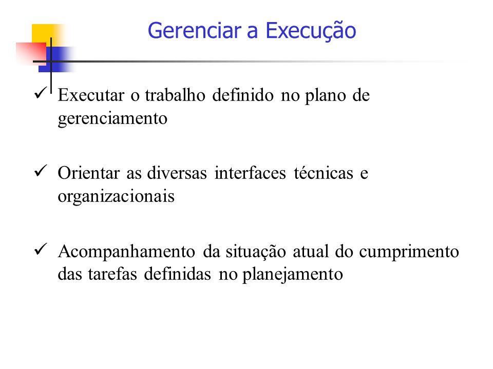 Gerenciar a Execução Executar o trabalho definido no plano de gerenciamento. Orientar as diversas interfaces técnicas e organizacionais.