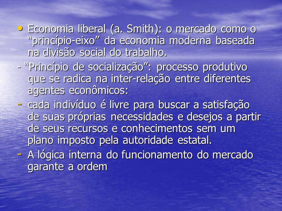 Economia liberal (a. Smith): o mercado como o princípio-eixo da economia moderna baseada na divisão social do trabalho.