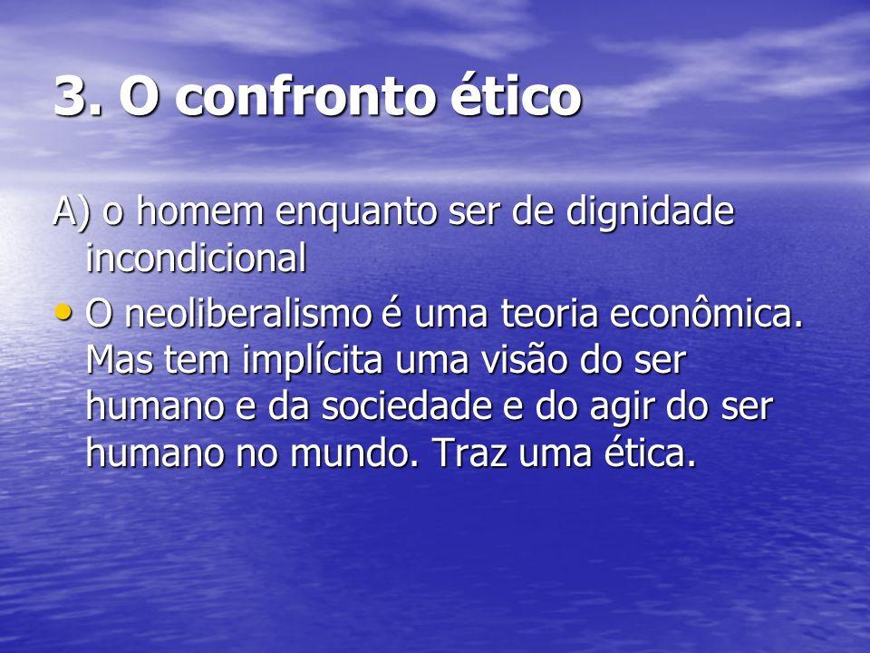 3. O confronto ético A) o homem enquanto ser de dignidade incondicional.