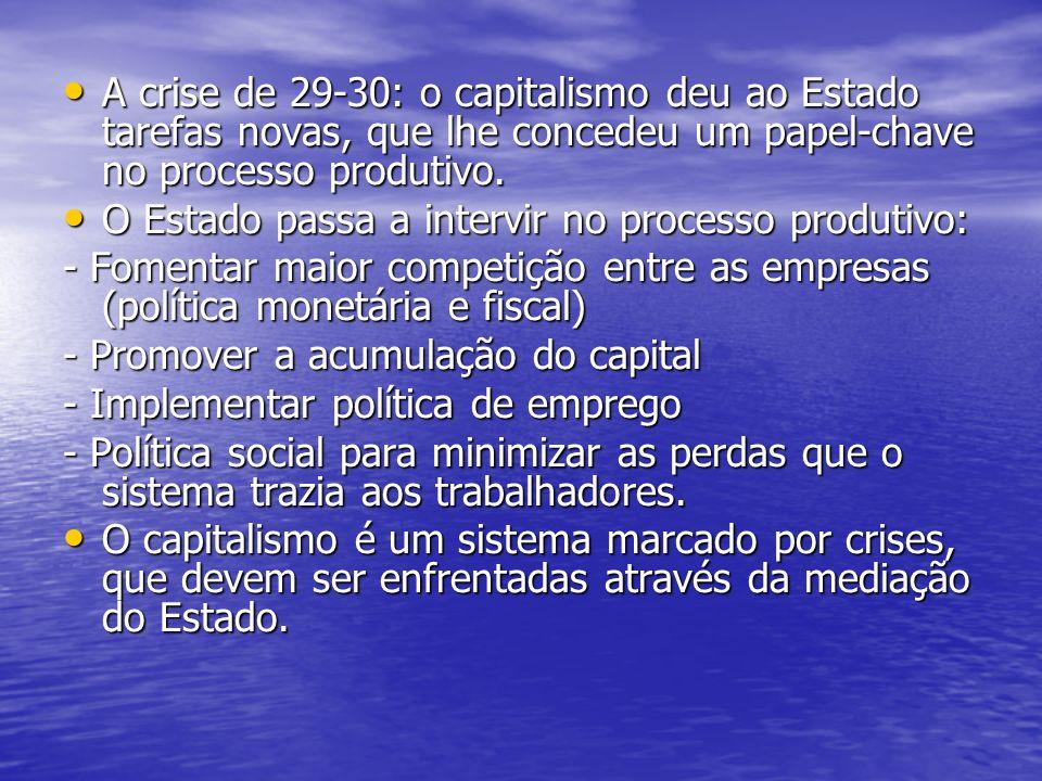 A crise de 29-30: o capitalismo deu ao Estado tarefas novas, que lhe concedeu um papel-chave no processo produtivo.