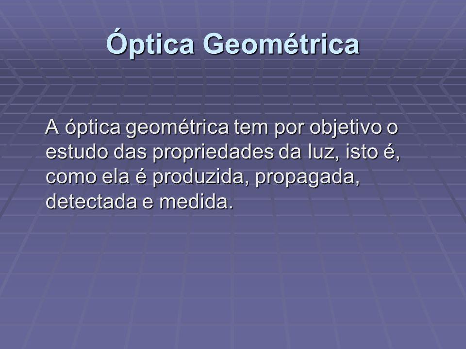 Óptica Geométrica A óptica geométrica tem por objetivo o estudo das propriedades da luz, isto é, como ela é produzida, propagada, detectada e medida.