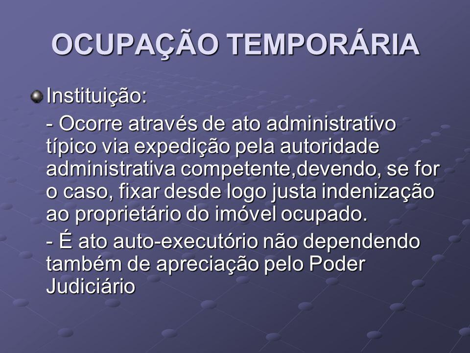 OCUPAÇÃO TEMPORÁRIA Instituição: