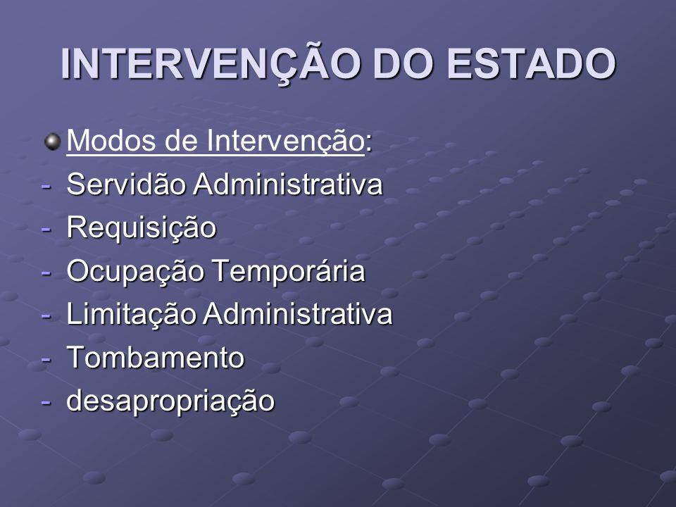 INTERVENÇÃO DO ESTADO Modos de Intervenção: Servidão Administrativa