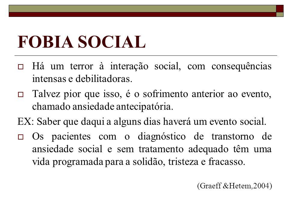 FOBIA SOCIAL Há um terror à interação social, com consequências intensas e debilitadoras.