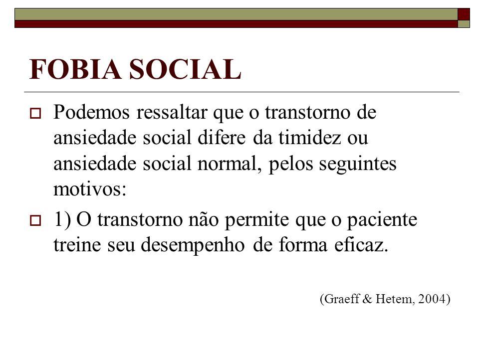 FOBIA SOCIALPodemos ressaltar que o transtorno de ansiedade social difere da timidez ou ansiedade social normal, pelos seguintes motivos: