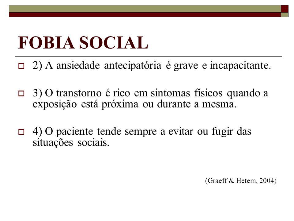 FOBIA SOCIAL 2) A ansiedade antecipatória é grave e incapacitante.