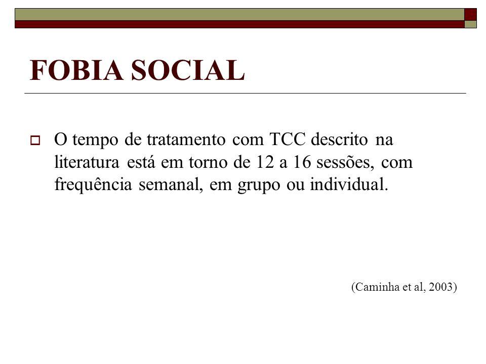 FOBIA SOCIALO tempo de tratamento com TCC descrito na literatura está em torno de 12 a 16 sessões, com frequência semanal, em grupo ou individual.