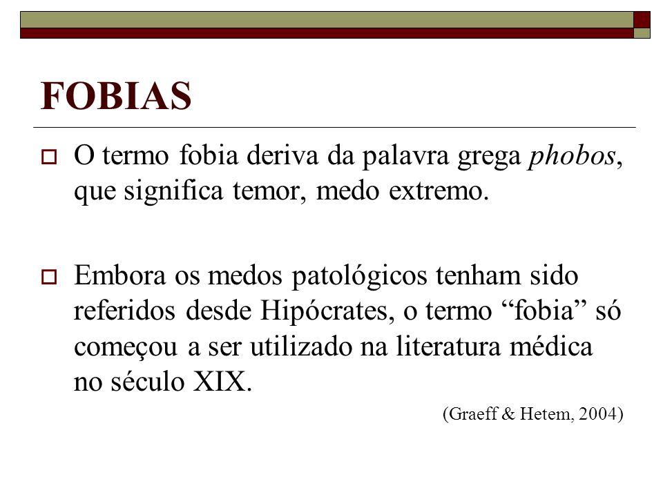 FOBIAS O termo fobia deriva da palavra grega phobos, que significa temor, medo extremo.