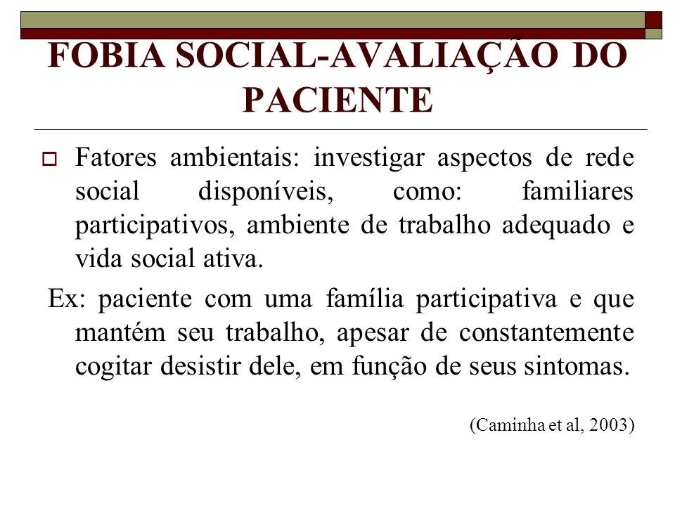 FOBIA SOCIAL-AVALIAÇÃO DO PACIENTE