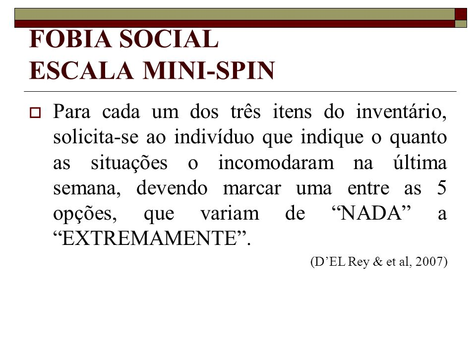 FOBIA SOCIAL ESCALA MINI-SPIN