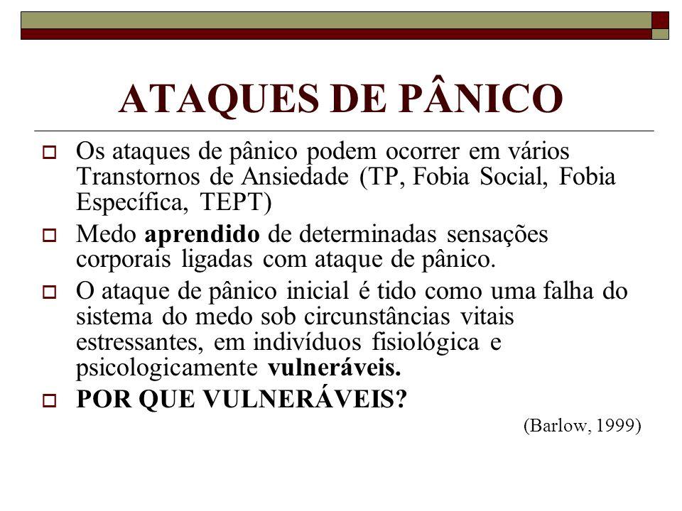 ATAQUES DE PÂNICO Os ataques de pânico podem ocorrer em vários Transtornos de Ansiedade (TP, Fobia Social, Fobia Específica, TEPT)