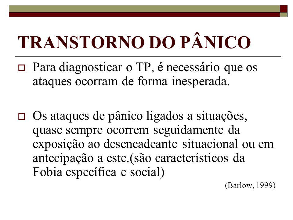 TRANSTORNO DO PÂNICO Para diagnosticar o TP, é necessário que os ataques ocorram de forma inesperada.