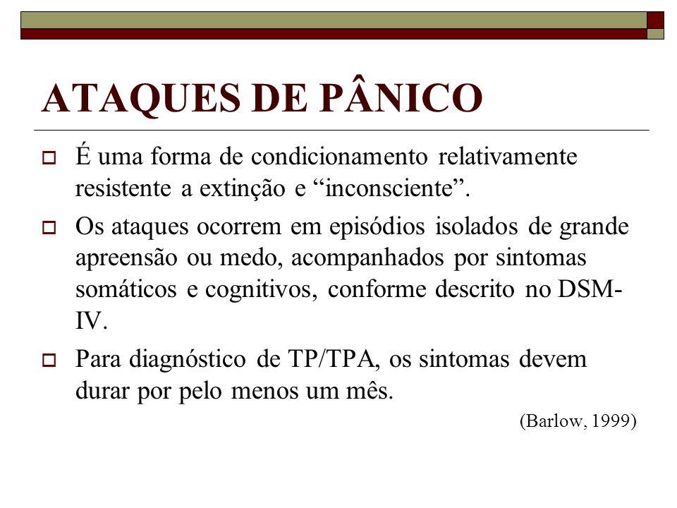 ATAQUES DE PÂNICO É uma forma de condicionamento relativamente resistente a extinção e inconsciente .