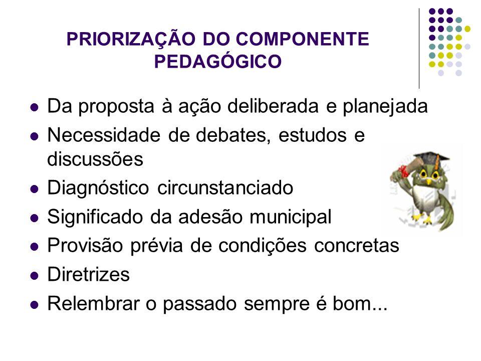 PRIORIZAÇÃO DO COMPONENTE PEDAGÓGICO