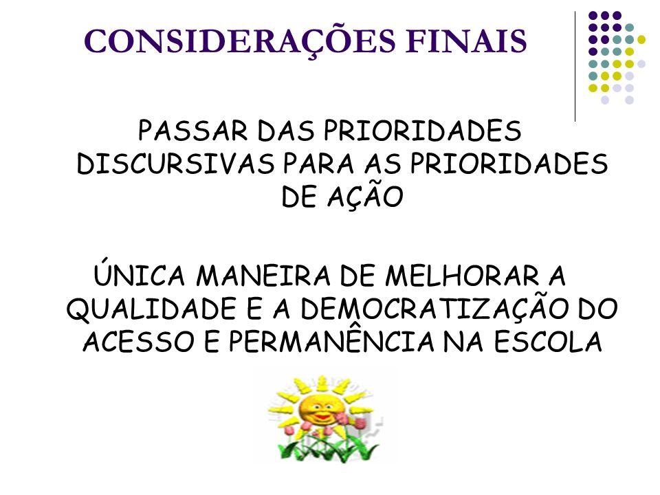PASSAR DAS PRIORIDADES DISCURSIVAS PARA AS PRIORIDADES DE AÇÃO