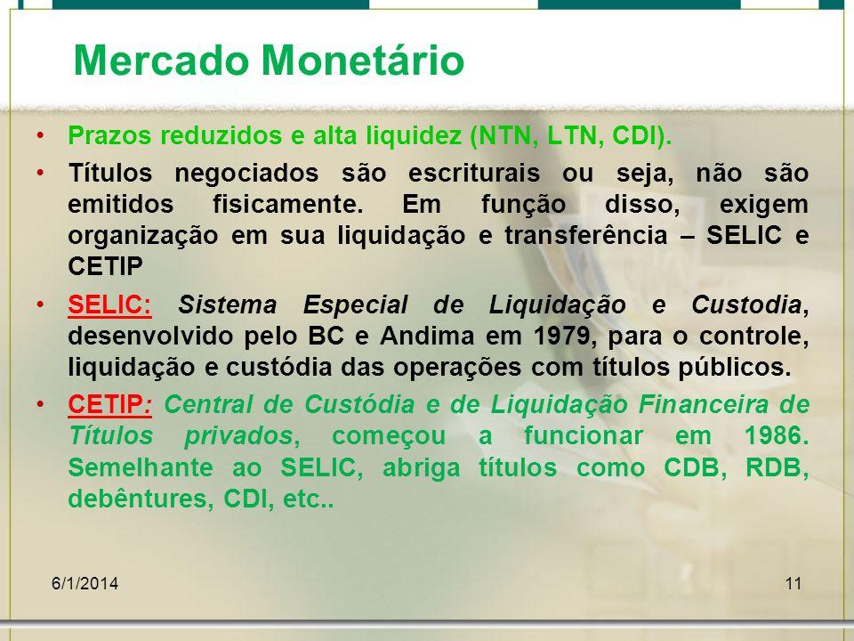 Mercado Monetário Prazos reduzidos e alta liquidez (NTN, LTN, CDI).