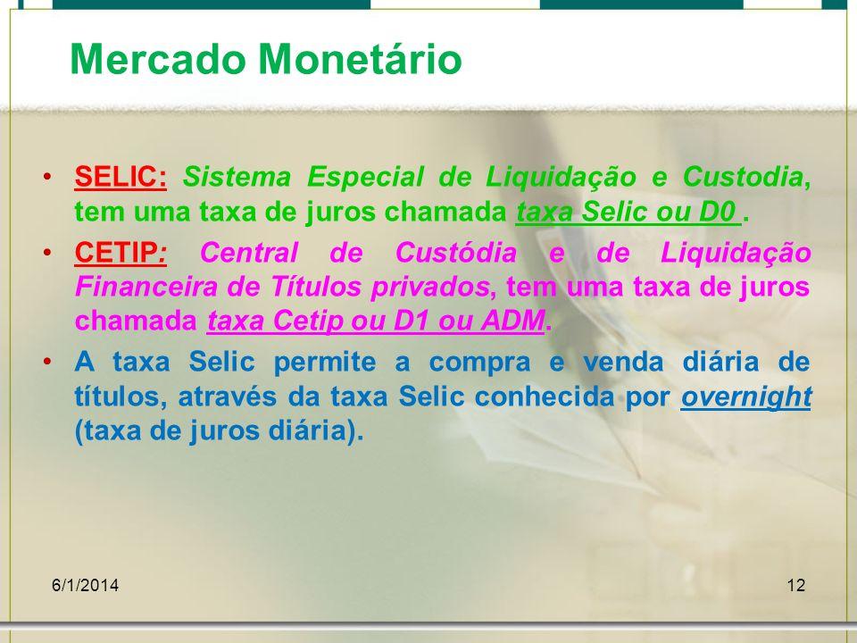 Mercado MonetárioSELIC: Sistema Especial de Liquidação e Custodia, tem uma taxa de juros chamada taxa Selic ou D0 .