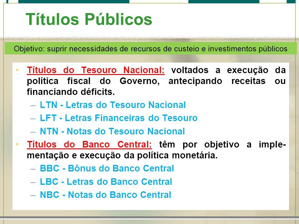 Títulos Públicos Objetivo: suprir necessidades de recursos de custeio e investimentos públicos.
