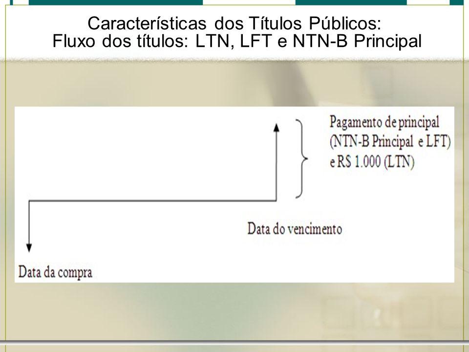 Características dos Títulos Públicos: Fluxo dos títulos: LTN, LFT e NTN-B Principal