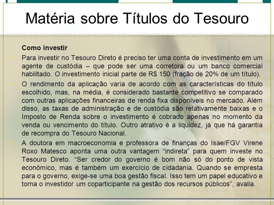 Matéria sobre Títulos do Tesouro
