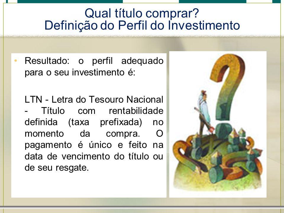 Qual título comprar Definição do Perfil do Investimento