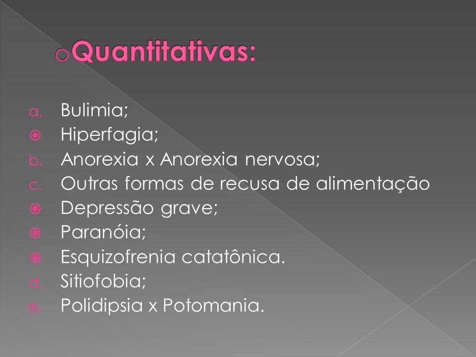 Quantitativas: Bulimia; Hiperfagia; Anorexia x Anorexia nervosa;