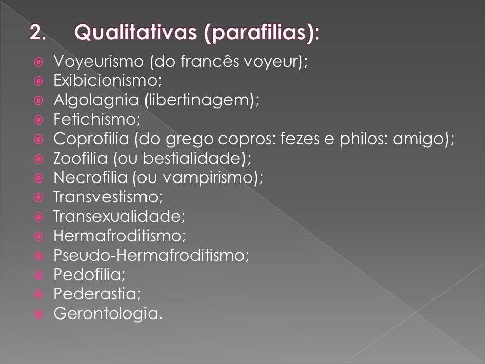 Qualitativas (parafilias):