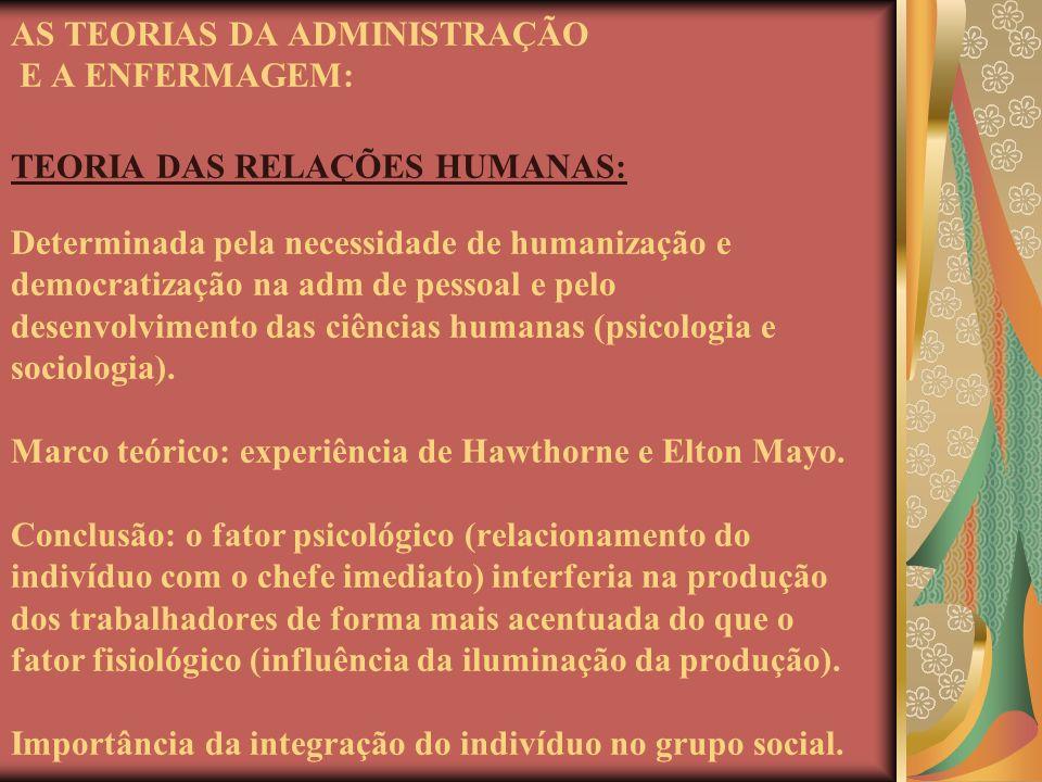 AS TEORIAS DA ADMINISTRAÇÃO E A ENFERMAGEM: TEORIA DAS RELAÇÕES HUMANAS: Determinada pela necessidade de humanização e democratização na adm de pessoal e pelo desenvolvimento das ciências humanas (psicologia e sociologia).