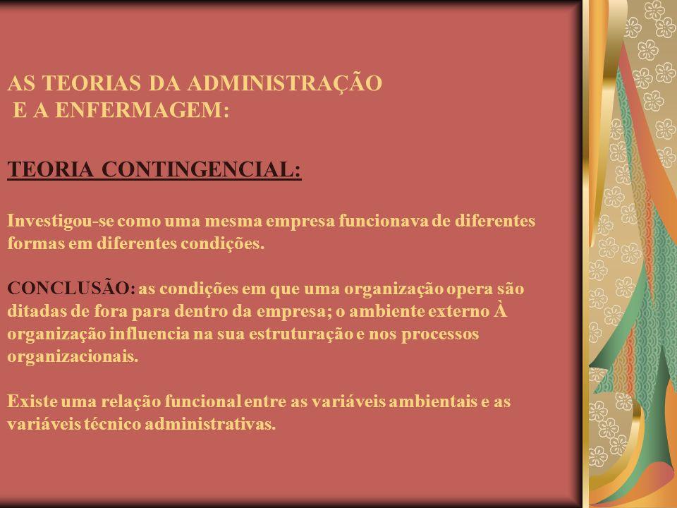 AS TEORIAS DA ADMINISTRAÇÃO E A ENFERMAGEM: TEORIA CONTINGENCIAL: Investigou-se como uma mesma empresa funcionava de diferentes formas em diferentes condições.