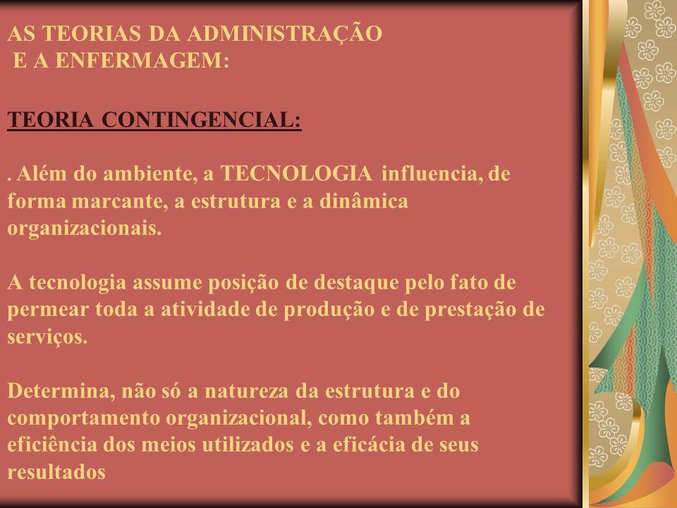 AS TEORIAS DA ADMINISTRAÇÃO E A ENFERMAGEM: TEORIA CONTINGENCIAL: