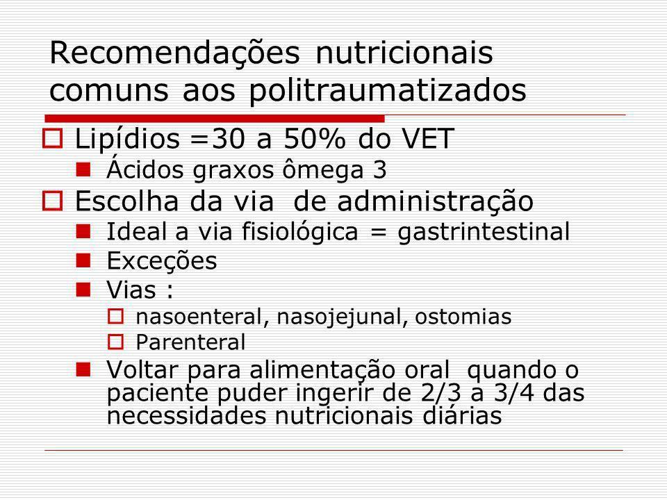 Recomendações nutricionais comuns aos politraumatizados