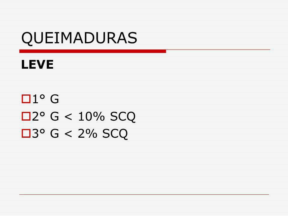 QUEIMADURAS LEVE 1° G 2° G < 10% SCQ 3° G < 2% SCQ