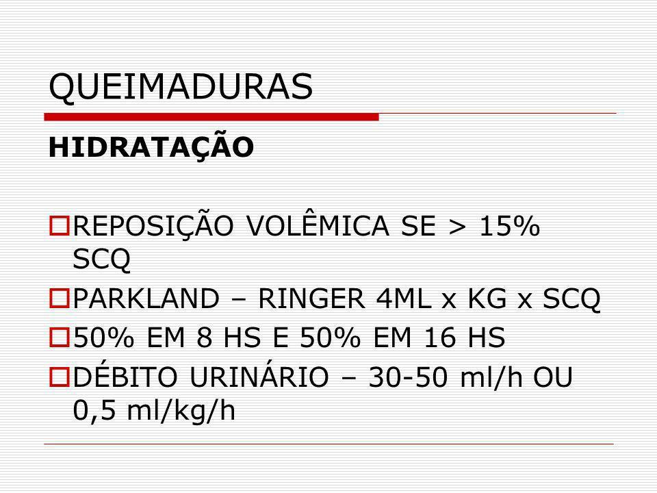 QUEIMADURAS HIDRATAÇÃO REPOSIÇÃO VOLÊMICA SE > 15% SCQ