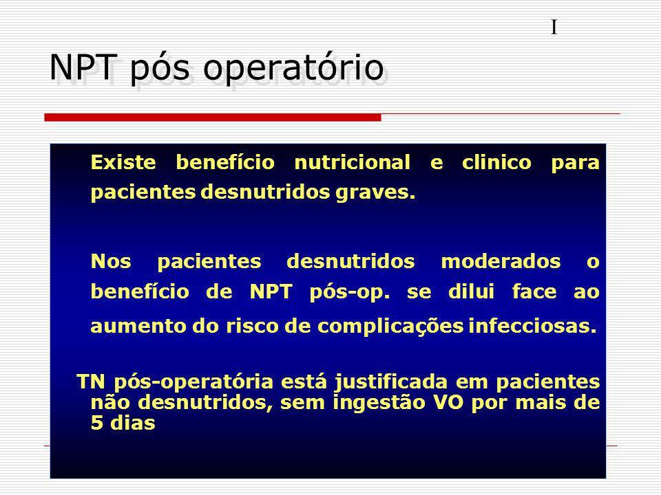 I NPT pós operatório. Existe benefício nutricional e clinico para pacientes desnutridos graves.