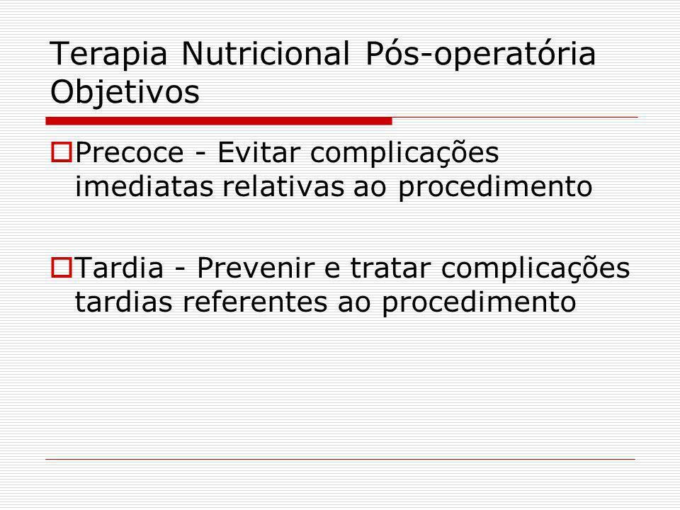 Terapia Nutricional Pós-operatória Objetivos