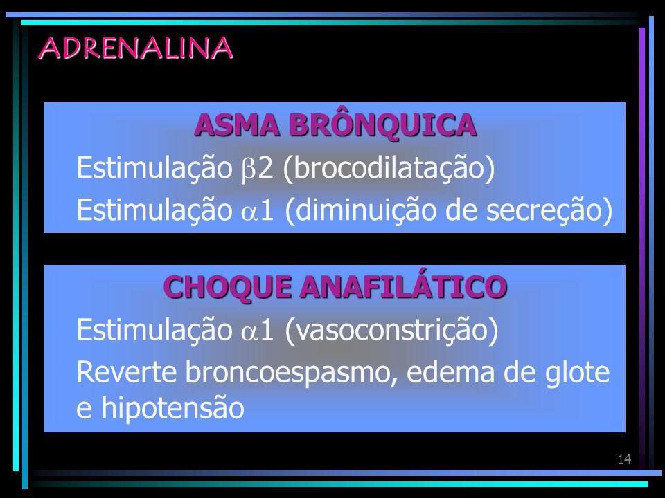 ADRENALINAASMA BRÔNQUICA. Estimulação 2 (brocodilatação) Estimulação 1 (diminuição de secreção) CHOQUE ANAFILÁTICO.