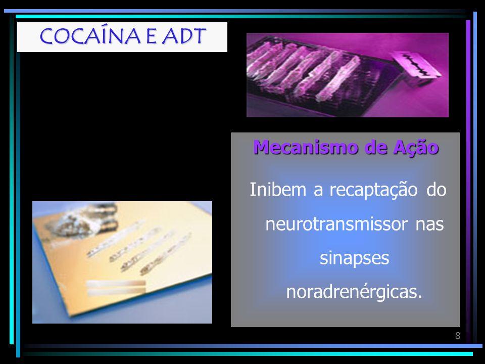 Inibem a recaptação do neurotransmissor nas sinapses noradrenérgicas.