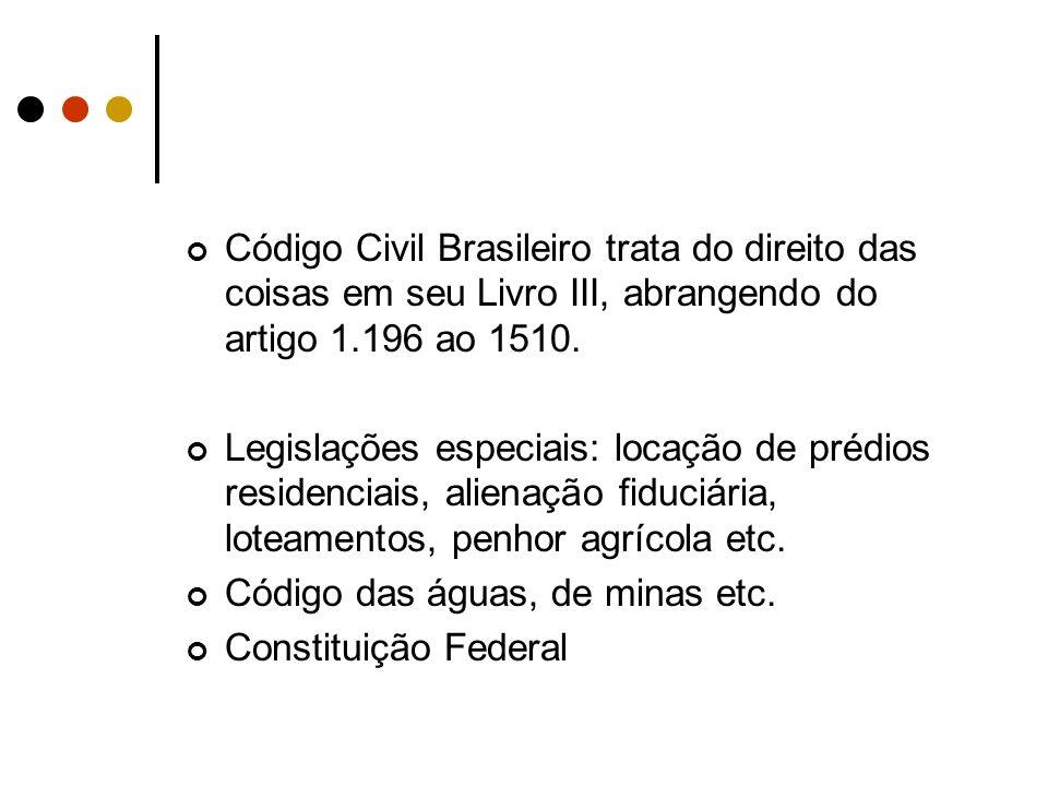 Código Civil Brasileiro trata do direito das coisas em seu Livro III, abrangendo do artigo 1.196 ao 1510.