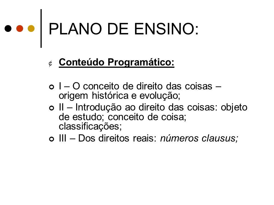 PLANO DE ENSINO: Conteúdo Programático: