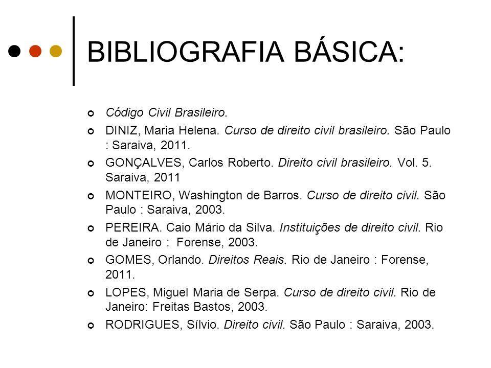 BIBLIOGRAFIA BÁSICA: Código Civil Brasileiro.