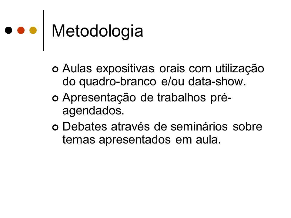 MetodologiaAulas expositivas orais com utilização do quadro-branco e/ou data-show. Apresentação de trabalhos pré-agendados.