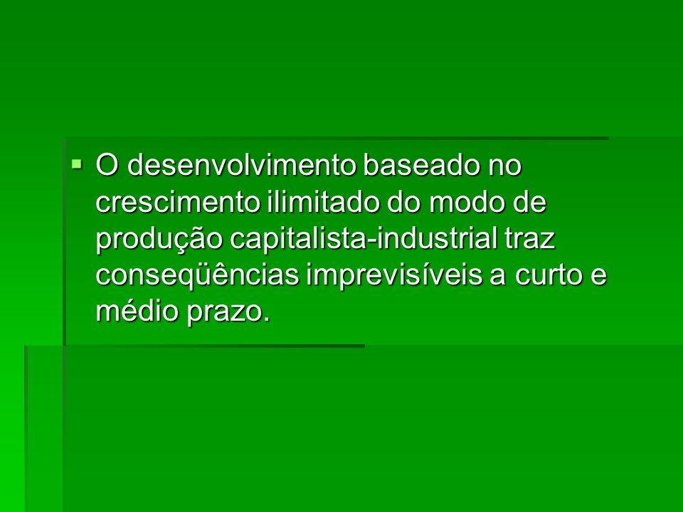 O desenvolvimento baseado no crescimento ilimitado do modo de produção capitalista-industrial traz conseqüências imprevisíveis a curto e médio prazo.