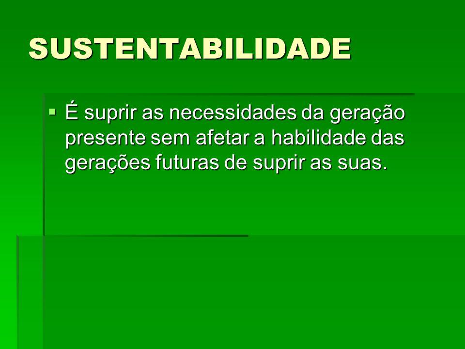 SUSTENTABILIDADE É suprir as necessidades da geração presente sem afetar a habilidade das gerações futuras de suprir as suas.