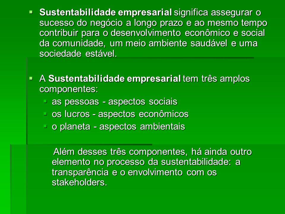 Sustentabilidade empresarial significa assegurar o sucesso do negócio a longo prazo e ao mesmo tempo contribuir para o desenvolvimento econômico e social da comunidade, um meio ambiente saudável e uma sociedade estável.